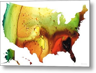United States Of America Map 5 - Colorful Usa Metal Print by Sharon Cummings