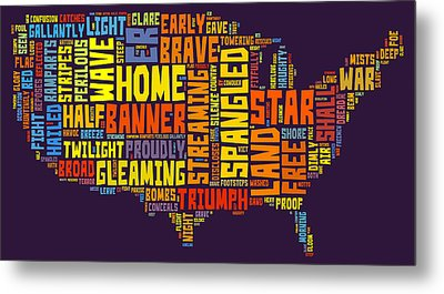 United States Of America Map Star Spangled Banner Typography  Metal Print
