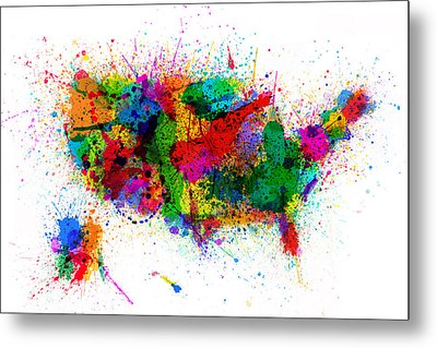 United States Paint Splashes Map Metal Print by Michael Tompsett