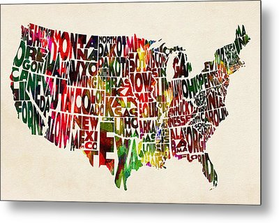 United States Watercolor Map Metal Print by Ayse Deniz