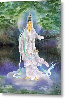 Universal Kuan Yin Metal Print by Lanjee Chee