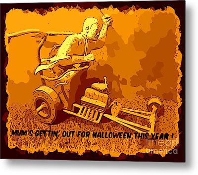 Universal Mosters Mummys Chariot Card Metal Print by John Malone