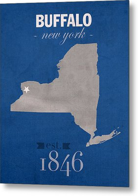 University At Buffalo New York Bulls College Town State Map Poster Series No 022 Metal Print by Design Turnpike