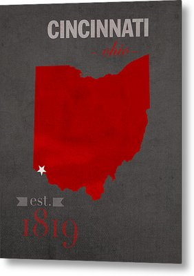 University Of Cincinnati Bearcats College Town Ohio State Map Poster Series No 029 Metal Print