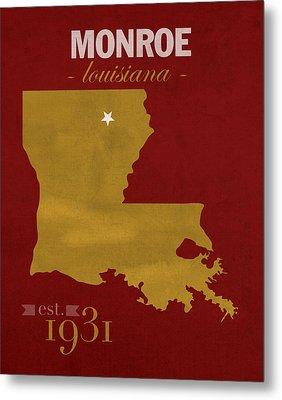 University Of Louisiana Monroe Warhawks College Town State Map Poster Series No 058 Metal Print by Design Turnpike