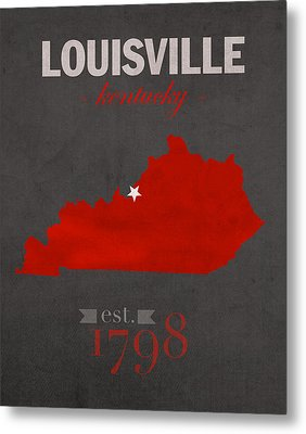 University Of Louisville Cardinals Kentucky College Town State Map Poster Series No 059 Metal Print by Design Turnpike