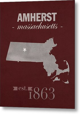 University Of Massachusetts Umass Minutemen Amherst College Town State Map Poster Series No 062 Metal Print by Design Turnpike