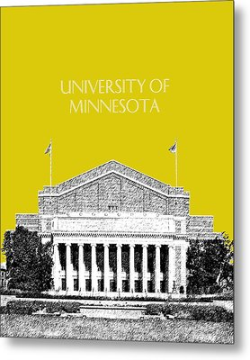 University Of Minnesota 2 - Northrop Auditorium - Mustard Yellow Metal Print by DB Artist