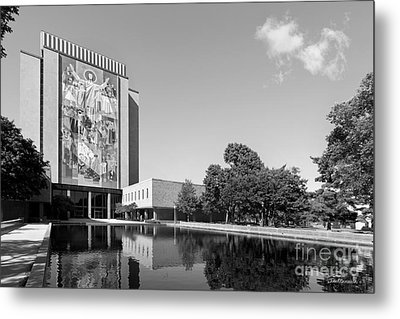 University Of Notre Dame Hesburgh Library Metal Print by University Icons
