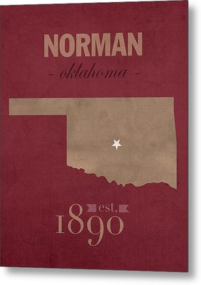 University Of Oklahoma Sooners Norman College Town State Map Poster Series No 083 Metal Print