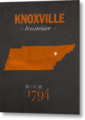University Of Tennessee Volunteers Knoxville College Town State Map Poster Series No 104 Metal Print by Design Turnpike