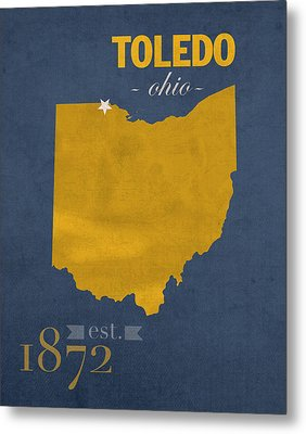 University Of Toledo Ohio Rockets College Town State Map Poster Series No 112 Metal Print