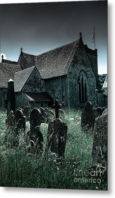 unkempt overgrown gravestones in the churchyard of St Mary's chu Metal Print by Peter Noyce