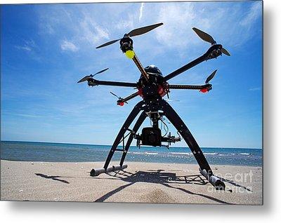 Unmanned Aerial Vehicle On Beach Metal Print by Sami Sarkis