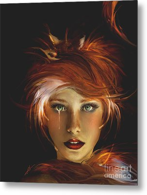 Untamed The Redhead And The Fox Metal Print