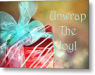 Unwrap The Joy Xmas Card Metal Print by Paulette B Wright