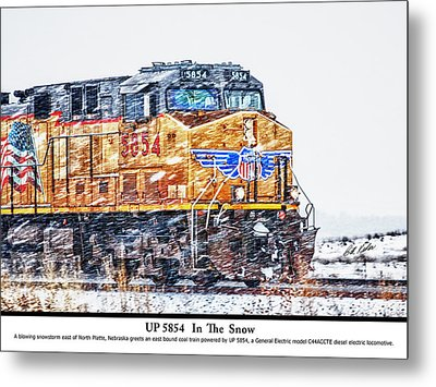 Up 5854 In The Snow With Description Metal Print by Bill Kesler