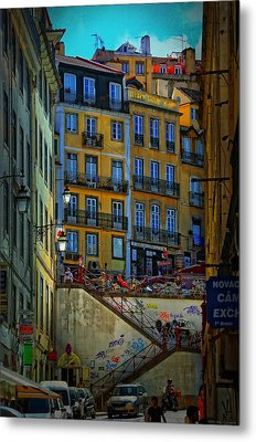 Up The Stairs - Lisbon Metal Print