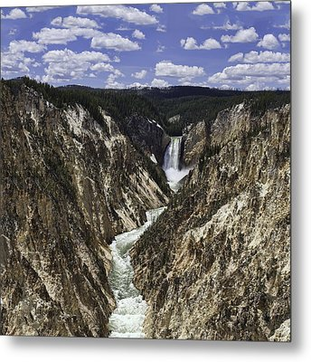 Lower Falls Of Yellowstone River Metal Print
