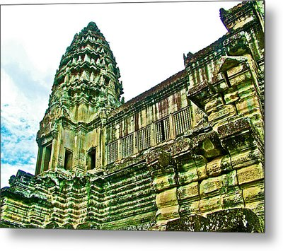 Upper Level Tower In Angkor Wat In Angkor Wat Archeological Park Near Siem Reap-cambodia Metal Print by Ruth Hager