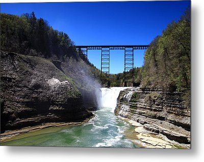 Upper Waterfalls In Letchworth State Park Metal Print by Paul Ge