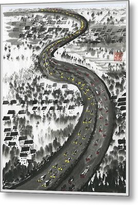 Metal Print featuring the painting Ups And Downs by Ping Yan
