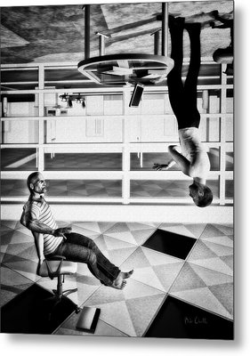 Upside Down Conversation Metal Print