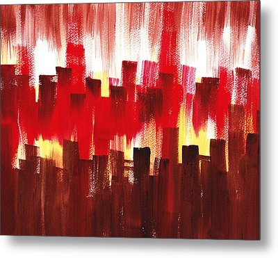 Metal Print featuring the painting Urban Abstract Evening Lights by Irina Sztukowski