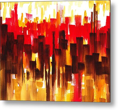 Metal Print featuring the painting Urban Abstract Glowing City by Irina Sztukowski