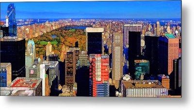 Urban Abstract New York City Skyline And Central Park Metal Print by Dan Sproul