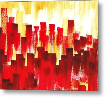 Metal Print featuring the painting Urban Abstract Red City Lights by Irina Sztukowski