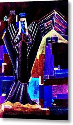 Metal Print featuring the painting Urban Angel Of Dark by Paula Ayers