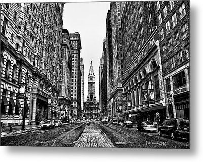 Urban Canyon - Philadelphia City Hall Metal Print by Bill Cannon