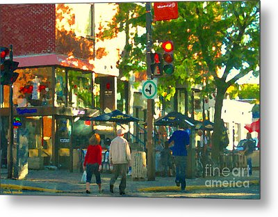 Urban Explorers Couple Walking Downtown Streets Of Montreal Summer Scenes Carole Spandau Metal Print by Carole Spandau