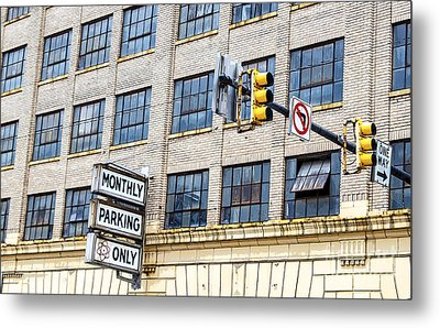 Urban Garage Monthly Parking Only Metal Print by Janice Rae Pariza