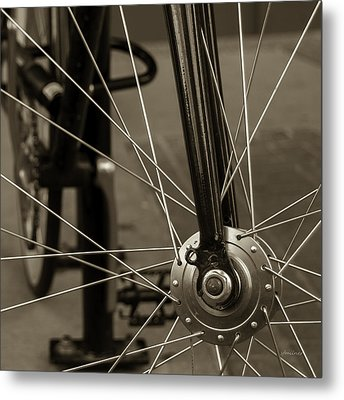 Metal Print featuring the photograph Urban Spokes In Sepia by Steven Milner