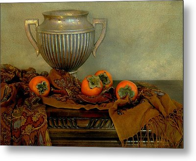 Classic Urn With Persimmons Metal Print by Diana Angstadt