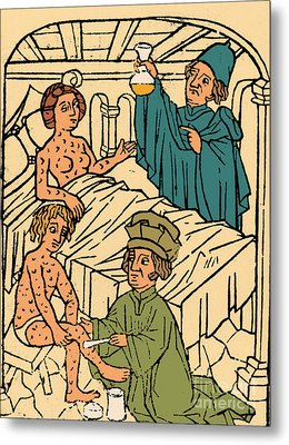 Uroscopy Patients With Syphilis 1497 Metal Print by Science Source
