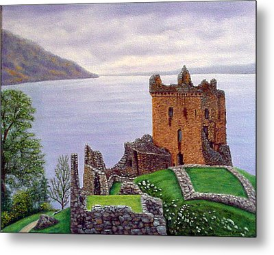 Metal Print featuring the painting Urquhart Castle Loch Ness Scotland by Fran Brooks
