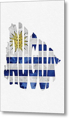 Uruguay Typographic Map Flag Metal Print by Ayse Deniz