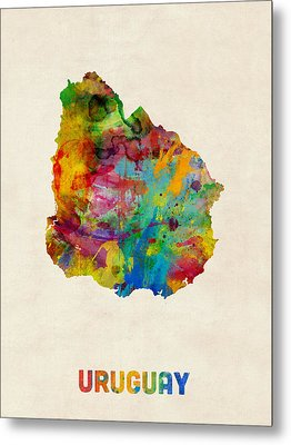 Uruguay Watercolor Map Metal Print