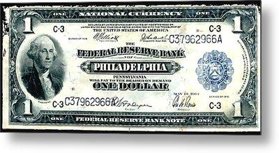 U.s. 1918 One Dollar Federal Reserve Note  Metal Print