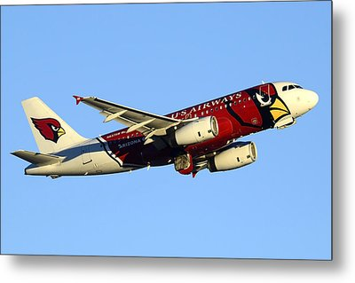 Us Airways Airbus A319-132 N837aw Arizona Cardinals Phoenix Sky Harbor December 24 2014  Metal Print by Brian Lockett