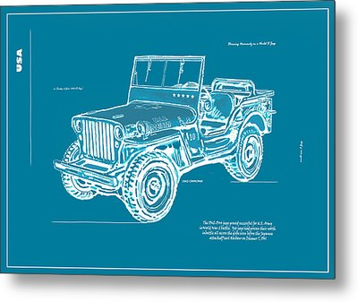 Us Army Jeep In World War 2 Art Sketch Poster-2 Metal Print