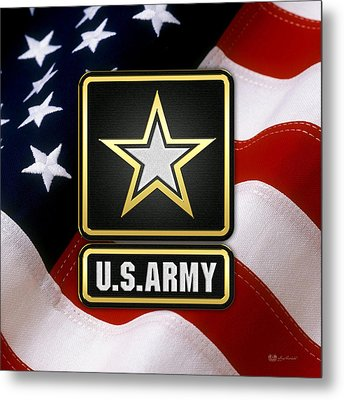 U. S. Army Logo Over American Flag. Metal Print by Serge Averbukh