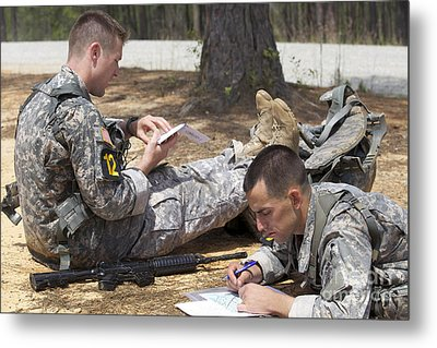 U.s. Army Rangers Map Out Their Route Metal Print by Stocktrek Images