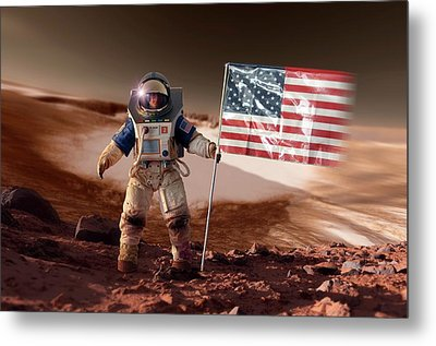 Us Astronaut On Mars Metal Print by Detlev Van Ravenswaay