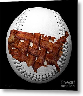 Us Bacon Weave Map Baseball Square Metal Print