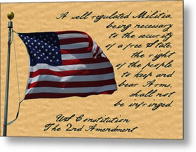 Us Constitution 2nd Amendment Flag Metal Print