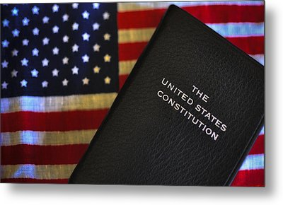 United States Constitution And Flag Metal Print by Ron White